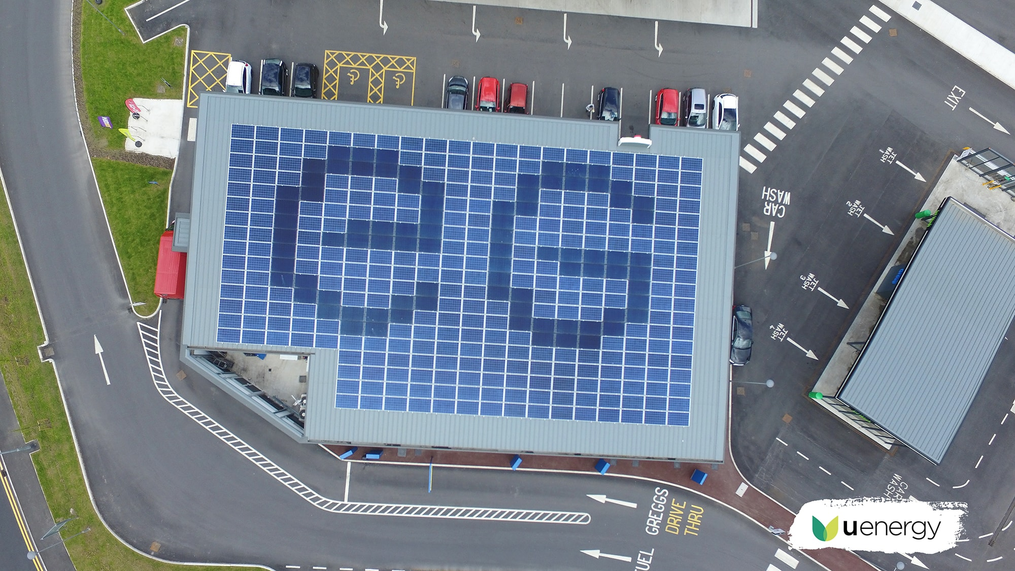 Euro Garages Logo integrated in Solar Panels System by U Energy Solar UK